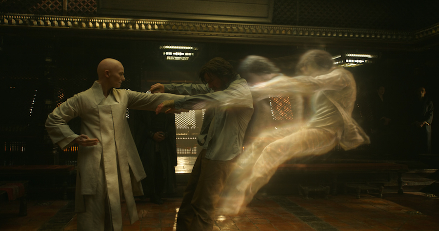 The Ancient One (Tilda Swinton) knocks Strange into the Astral realm.