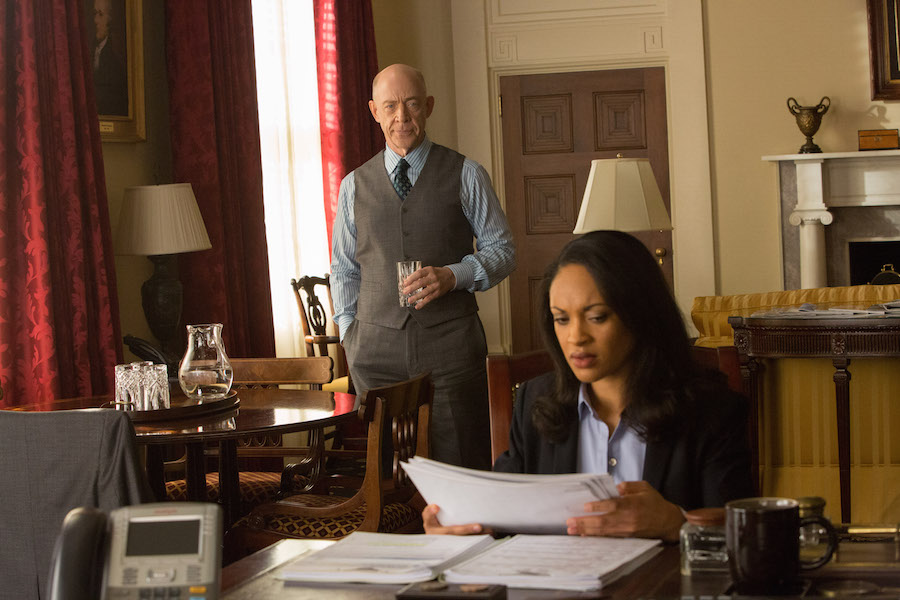Federal agents Raymond King (J.K. SImmons) & Marybeth Medina (Cynthia Addai-Robinson) are hot on Wolff's trail.