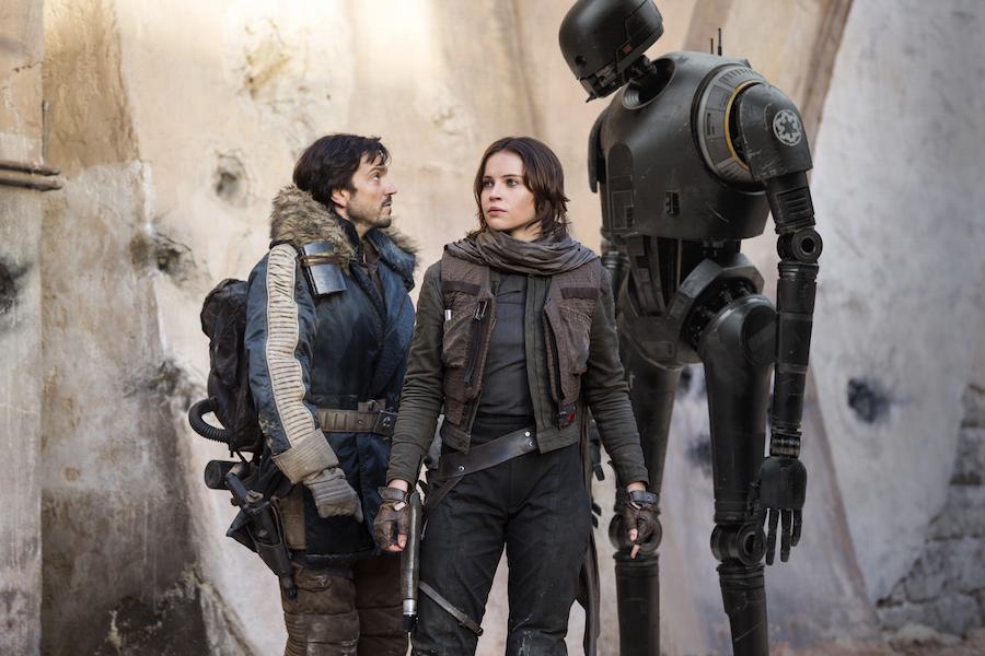 Cassian Andor (Diego Luna), Jyn Erso (Felicity Jones) and K-2SO (Alan Tudyk).