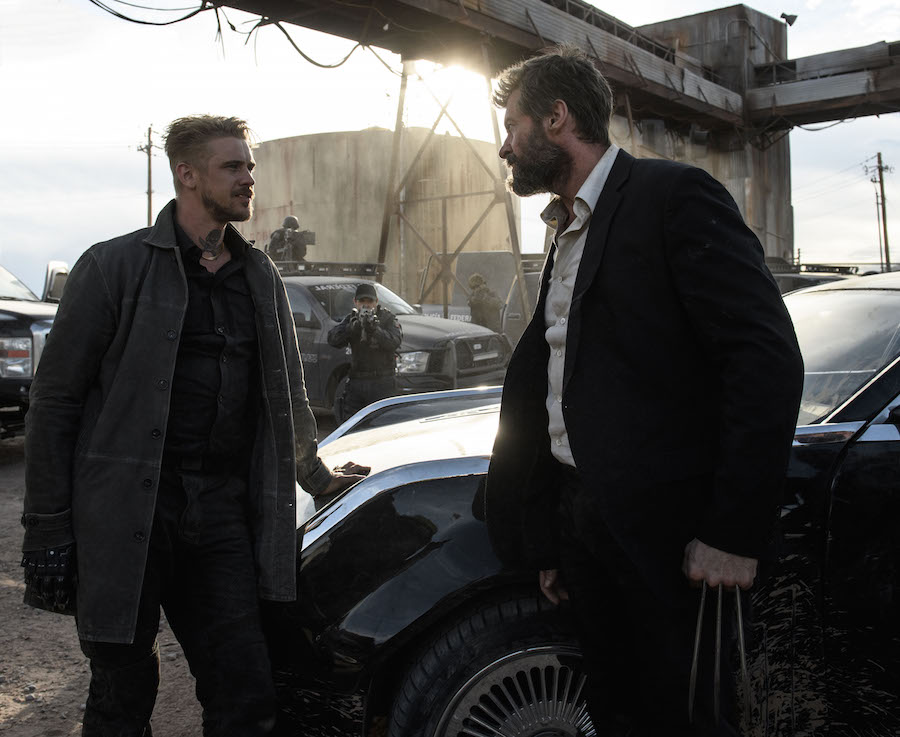 Donald Pierce (Boyd Holbrook) confronts Logan.